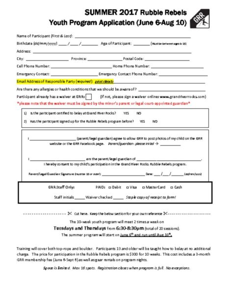 thumbnail of Summer 2017 Application Form