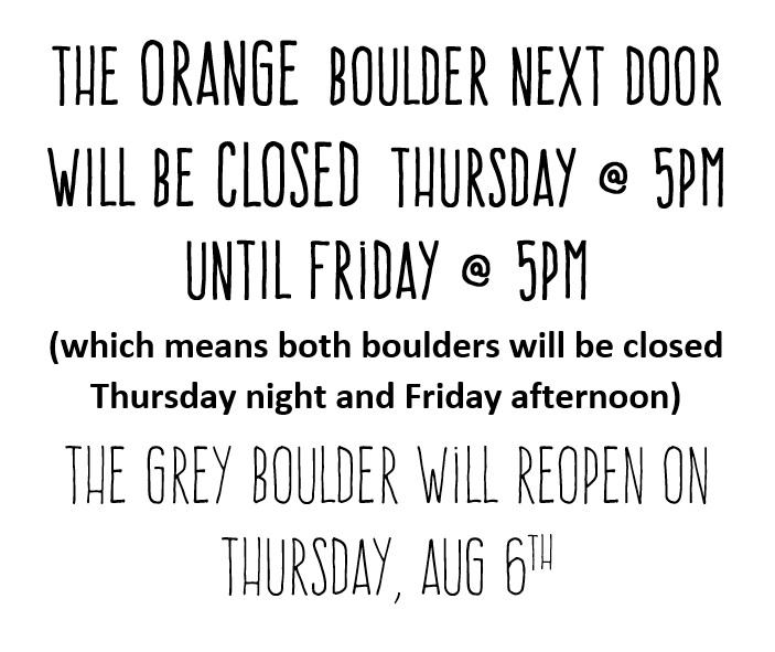JULY 29 2015 - BOULDER CLOSED