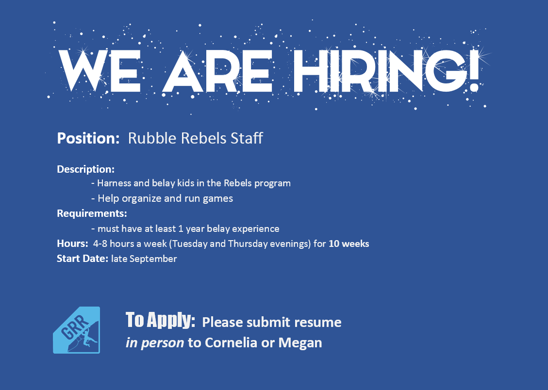 We are HIRING for a temporary part-time position - Grand River Rocks ...